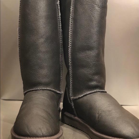 UGG dark gray metallic tall boot