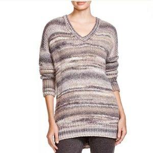Vince Gray Brown Cream V-Neck Oversized Sweater