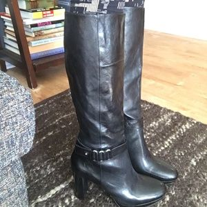 Nine West Kaleigh Round Toe Leather Knee High Boot