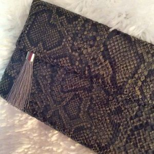 Banana Republic Animal Print Clutch with Tassle
