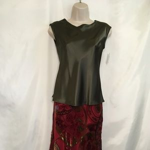 Other - Olive Green Shell and Red Skirt from Neiman Marcus
