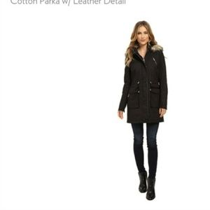 Cotton Parka with leather detail
