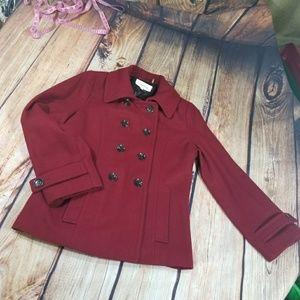 Calvin Klein Wool Red Pea Coat size 14
