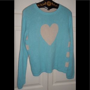 Christopher & Banks Turquoise and White Sweater