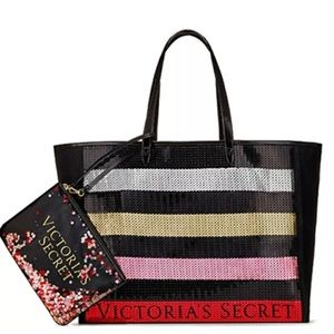 Victoria's Secret tote bag and bling sequin pouch