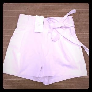High Waisted White Shorts with decorative tie