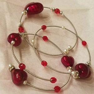 NWT Swarovski Bracelet 3D Red Murano Glass
