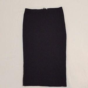 Basic H&M black midi pencil skirt