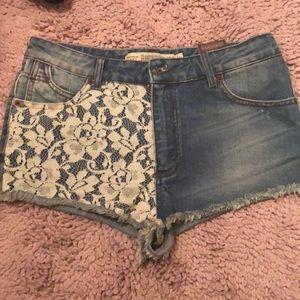 Zara Denim Shorts Lace 6