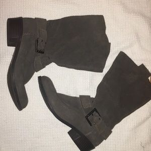 Suede Riding Boots with Buckle and Low Chunky Heel