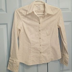Shimmer button down blouse with metal gem clasps