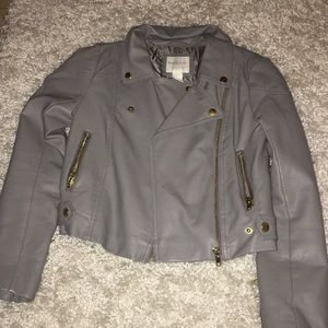 Gray comfy leather jacket