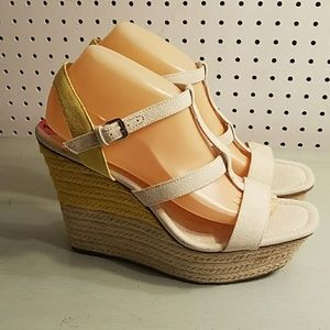 YELLOW AND WHITE NINE WEST WEDGES