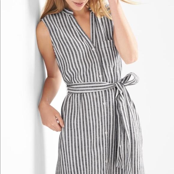 439dda3d2fb GAP Dresses   Skirts - NEW Gap Linen Sleeveless Stripe Shirtdress