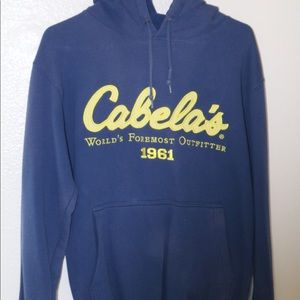 Men's small cabela's pull over jacket. Blue/yellow