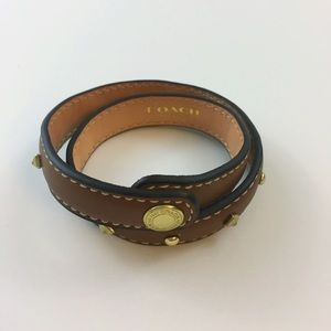 • Coach • Double Wrap Studded Leather Bracelet