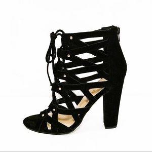 Shoe Republic faux suede lace up heels