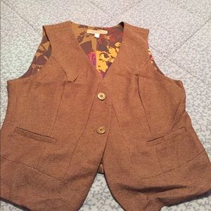 Coldwater Creek 16 2 Button vest brown burgundy
