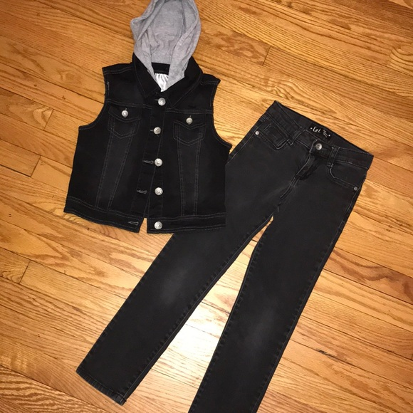 2fc4e96119 Justice Other - Justice black denim vest and Lei black jeans 8-10