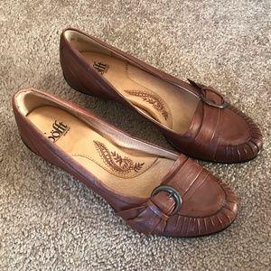 Sofft Brown Genuine Leather pumps pleating Sz 8 N