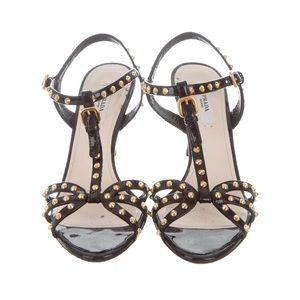 Prada T-strap Patent Leather Stud Sandals