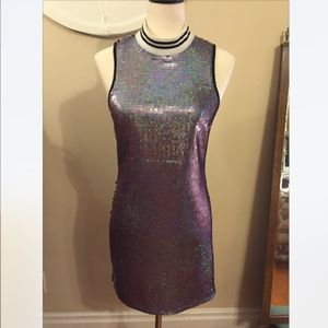 NYE Sequin Mod Disco Inspired Sparkle Party Dress