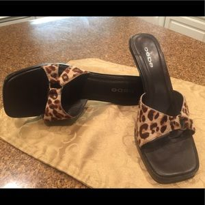 Bebe leather leopard print heels
