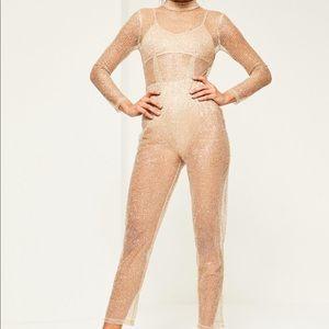 Missguided gold glitter mesh jumpsuit