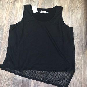 Calvin Klein Black Sleeveless Striped Blouse 2X