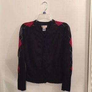 Black Argyle Design Sweater