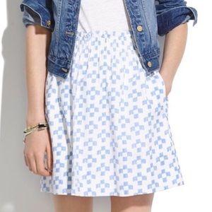 Madewell crosshatch ikat shirred skirt