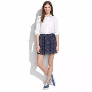 Madewell Mini Skirt Polka Dot Pleated Navy Blue