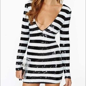 Striped Mod Sequined Dress for NYE Party Cocktail
