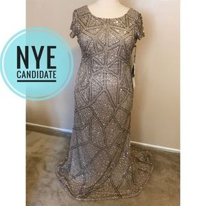 🔸 Short sleeve beaded Adrianna Papell gown 16W