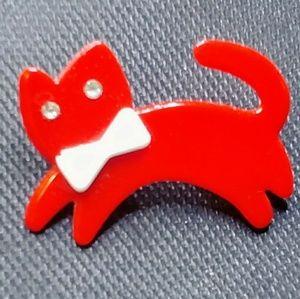 Vintage barette, plastic red cat