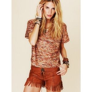 Free People Multicolor Textured Boxy Top