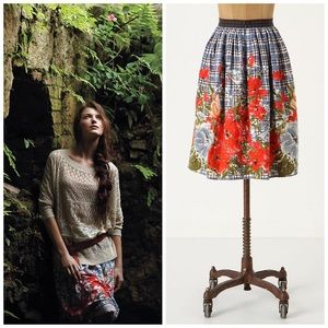 Odille Picked Plaid Floral Skirt