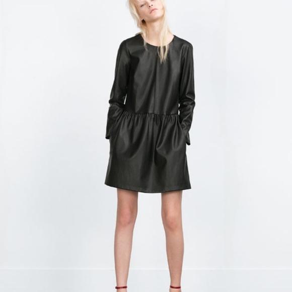 589160c4 Zara Dresses   Faux Leather Long Sleeve Dress   Poshmark
