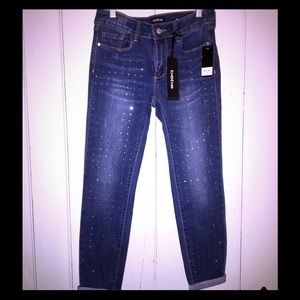 Gorgeous NWT sequined bebe cropped skinny jeans!💝