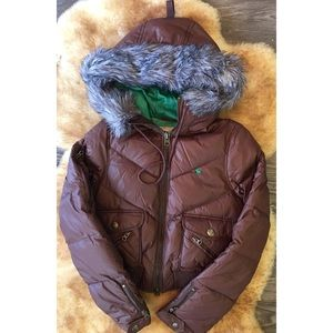 Abercrombie Sz Med Brown Down Vintage Ski Jacket