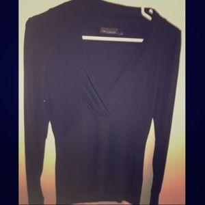 Black Long Sleeve Plunge Shirt