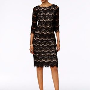 Jessica Howard Lace Illusion Sheath Dress Black/Ta