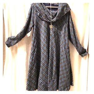 EShakti custom flannel plaid cowl neck swing dress