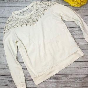 Zara Off-White Lace Sweater