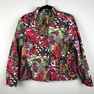 ADDITIONS By Chicos 1 Abstract Floral Jean Jacket