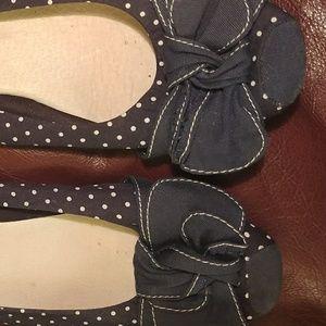 Restricted, navy blue polka dot ballerina flats