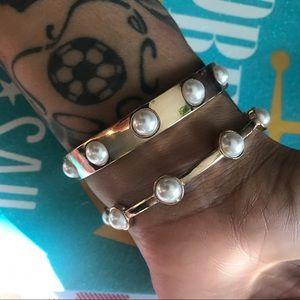 2pcs gold pearl bangles