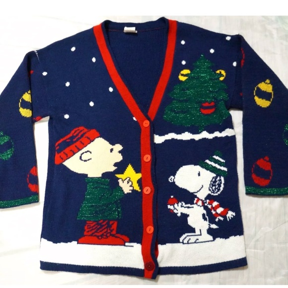 Snoopy Friends Sweaters Vtg Ugly Christmas Sweater Snoopy