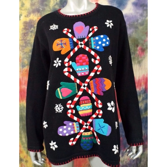 90s Christmas Sweaters.Vtg 90s Ugly Christmas Sweater Black Tunic Mittens