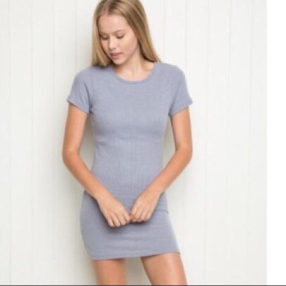 7cace62a Brandy Melville Dresses & Skirts - Brandy Melville Blue Jenelle Ribbed  Bodycon Dress